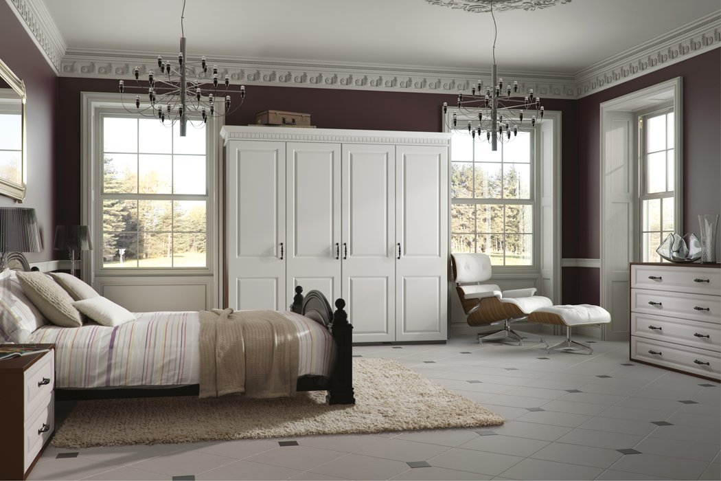 Bella York Satin White Bedroom