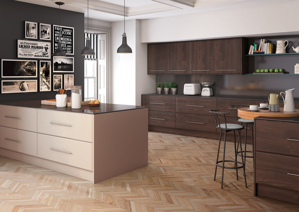 Burnt Oak Matt Cashmere Pisa Kitchen
