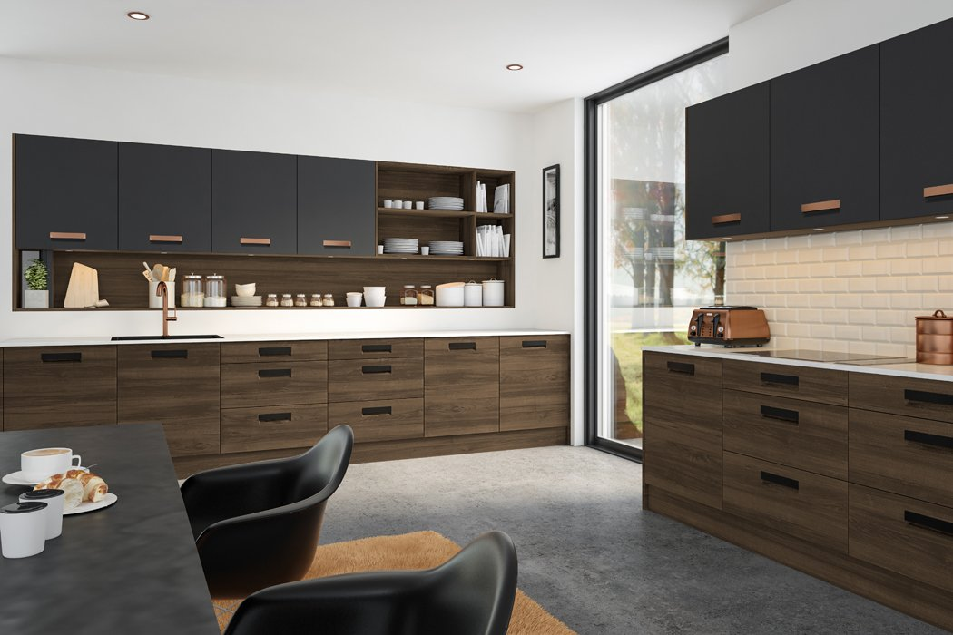Natural Walnut Matt Graphite Lazio Kitchen
