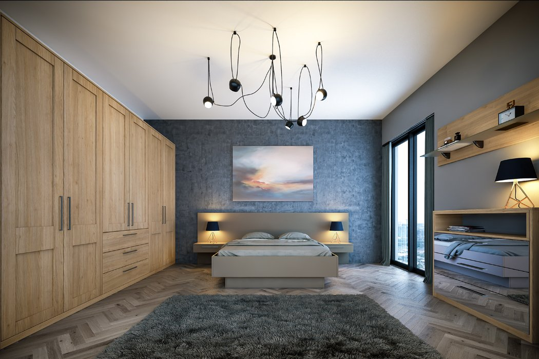 Bella Tortona Natural Oak Shaker Matt Stone Grey Venice Bedroom