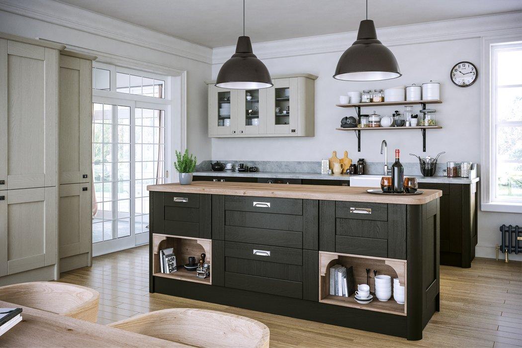 Pronto Wilton Oakgrain Graphite Oakgrain Grey Kitchen