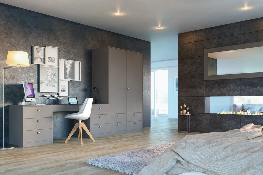 Zurfiz Supermatt Metallic Basalt Bedroom